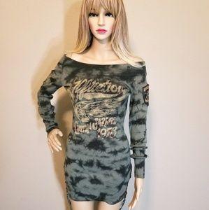 AFFLICTION Camo Sweater Dress
